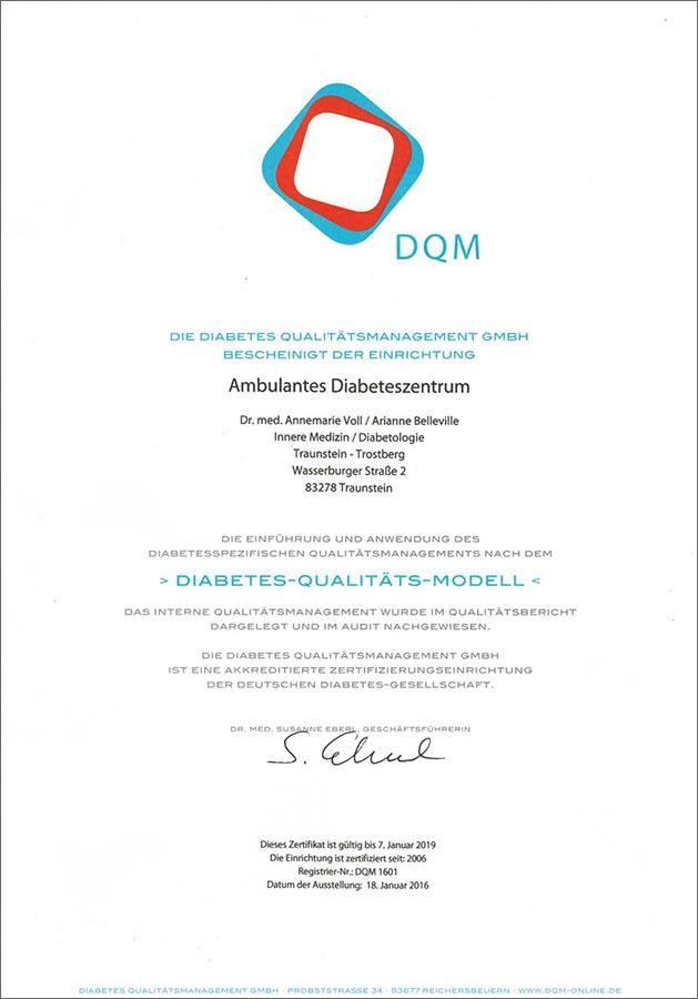 Urkunde Diabetes-Qualitäts-Modell