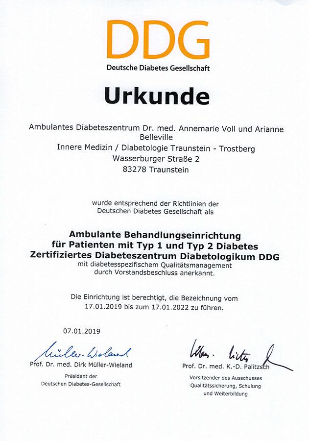 Urkunde DDG Deutsche Diabetesgesellschaft